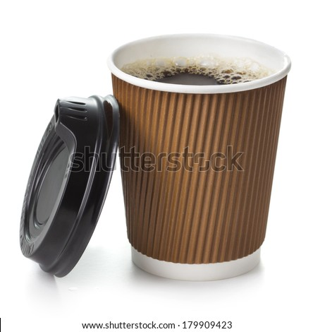Coffee in takeaway cup on white background - stock photo