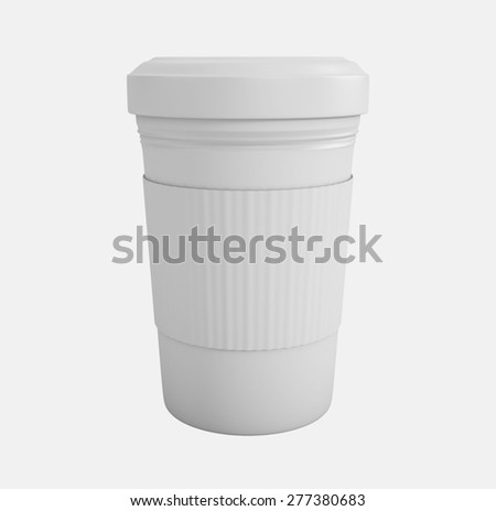 Coffee in takeaway cup over white background. 3d illustration - stock photo