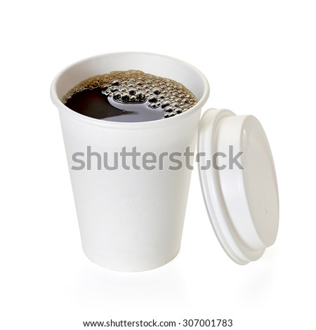 Coffee in takeaway cup with open lid on white background including clipping path - stock photo