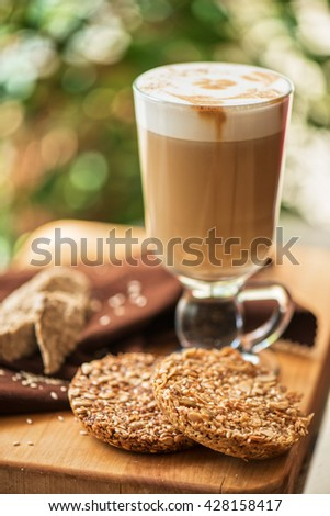 coffee latte cup with cookies - stock photo
