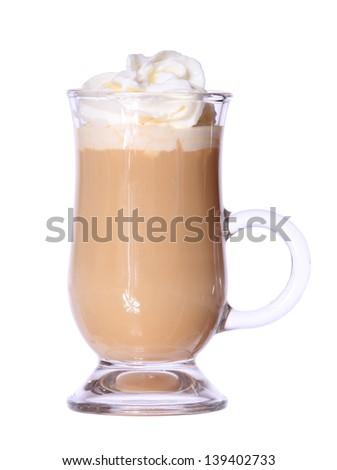 Coffee Latte in glass irish mug isolated on white background - stock photo
