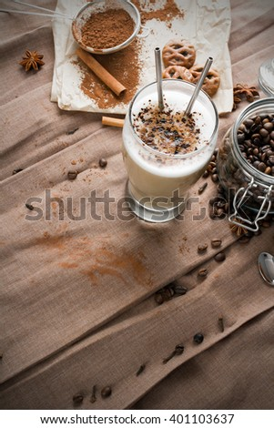 coffee latte with chocolate sprinkles - stock photo