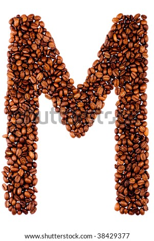 coffee letter M on white background - stock photo