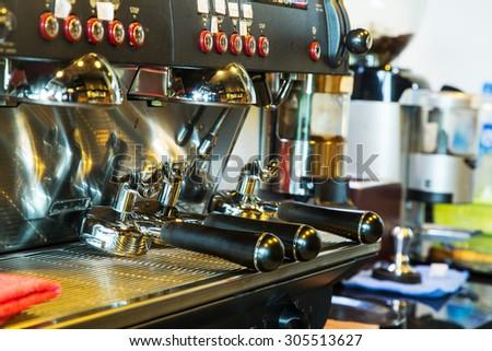 Coffee machine prepare for do beverage to customer - stock photo
