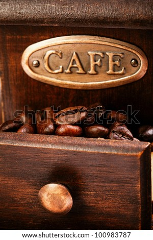 coffee mill isolated on white - stock photo