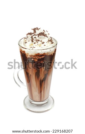 Coffee mocha with whipped cream and chocolate on white - stock photo