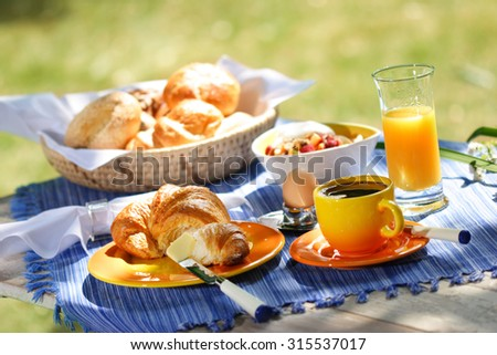 coffee, muesli and croissant - stock photo