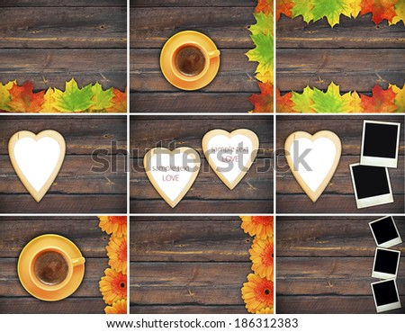 coffee mug vintage photo romantic heart frame wooden background - stock photo