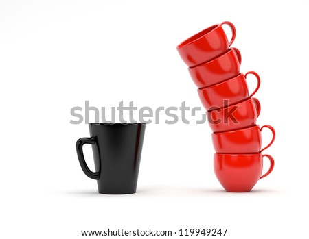 Coffee Mugs isolated on white - stock photo