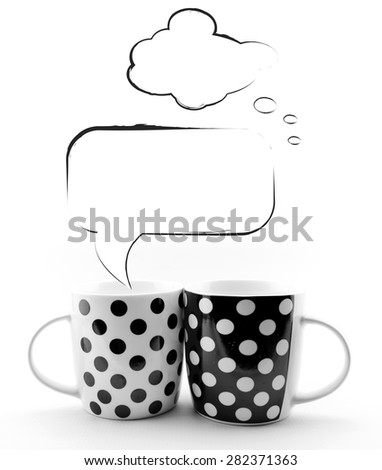 Coffee mugs with blank sketchy speech bubbles isolated on white background - stock photo