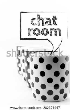 Coffee mugs with speech bubble Chat room text  isolated on white - stock photo