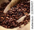 Coffee on burlap texture - stock photo