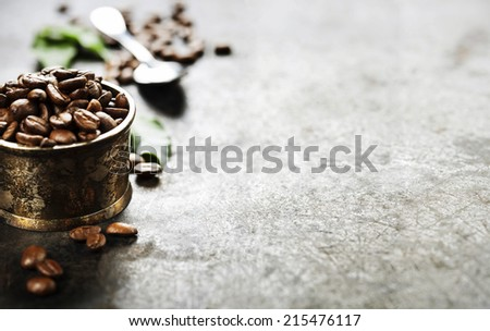 Coffee on grunge dark background - stock photo