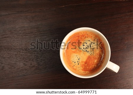 Coffee On Wood Top View - stock photo