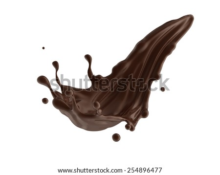 coffee or hot dark chocolate dynamic splash isolated on white background - stock photo