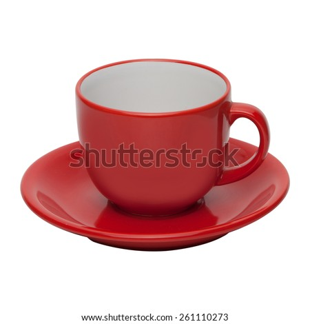 coffee or tea red cup with saucer isolated on white background - stock photo