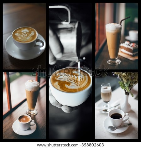 coffee photo collage in coffee shop vintage color - stock photo