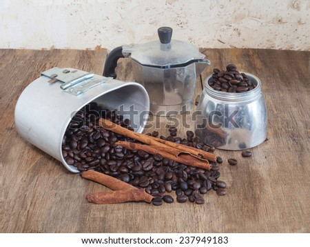 Coffee pot and coffee bean still life - stock photo