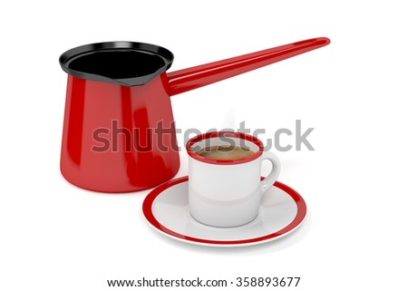 Coffee pot and fresh prepared hot coffee, on white background - stock photo