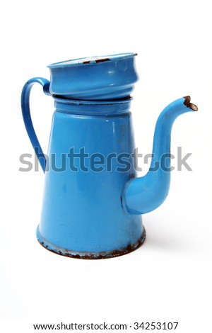 coffee pot in enamel. traditional danish vintage coffee maker known as madam blue isolated on white - stock photo