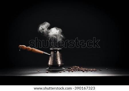 Coffee Pot On Dark Background - stock photo