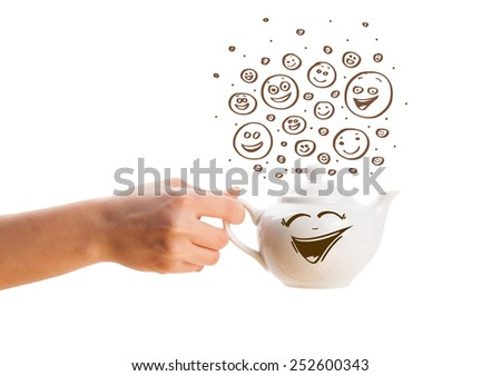Coffee-pot with brown hand drawn happy smiley faces, isolated on white - stock photo