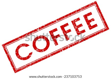 coffee red square stamp isolated on white background - stock photo