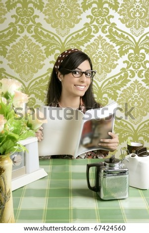 coffee retro woman kitchen coffee with magazine vintage wallpaper - stock photo