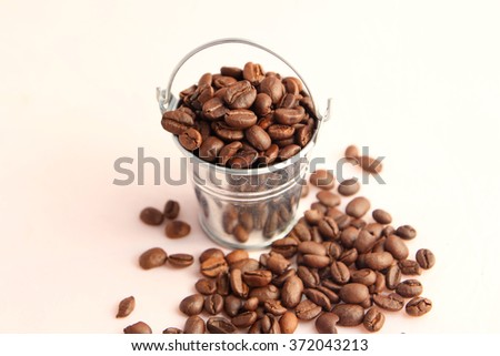 Coffee roasted bean in the bucket  - stock photo