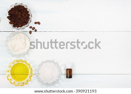 Coffee scrub with oil? sea salt, yogurt and essence - stock photo