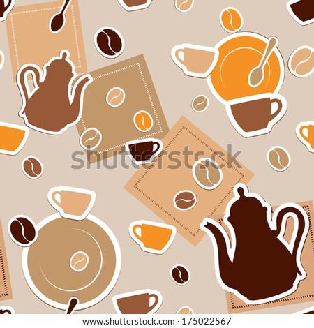 Coffee seamless - stock photo