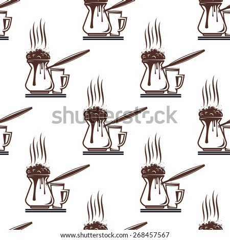 Coffee seamless pattern with saucers for fast food design - stock photo