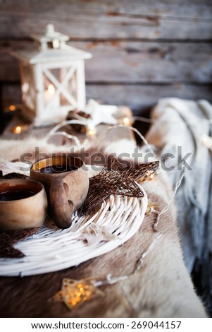 Coffee served from kuksa, finnish wooden cup - stock photo