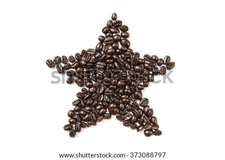 Coffee shape set on white background , star - stock photo