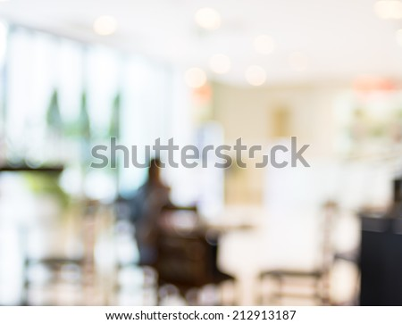 Coffee shop blur background with bokeh - stock photo