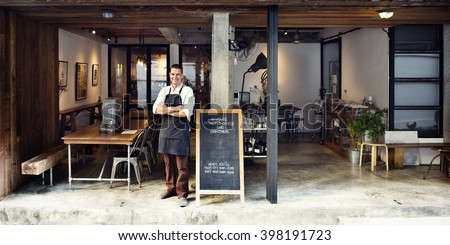 Coffee Shop Cafe Owner Service Concept - stock photo