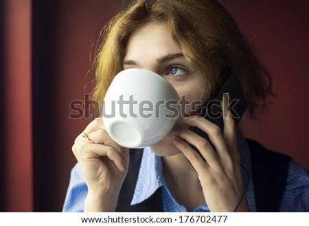 Coffee shop call - stock photo