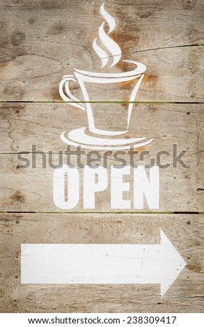 Coffee shop open sign on the wooden background  - stock photo