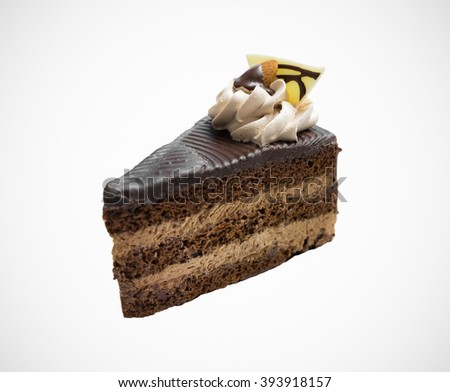 Coffee short cake on vignette background. Delicious slice sweet bakery and almond. - stock photo