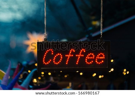Coffee sign at a Christmas market - stock photo