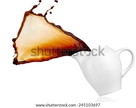 Coffee splash from a coffee jug - stock photo