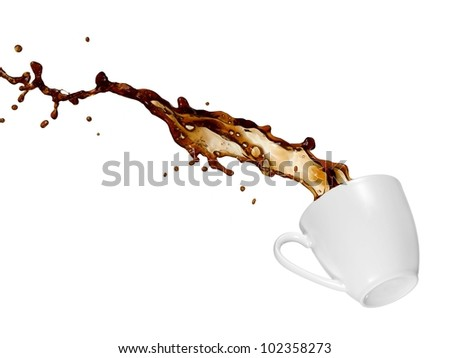 Coffee splash from a cup - stock photo