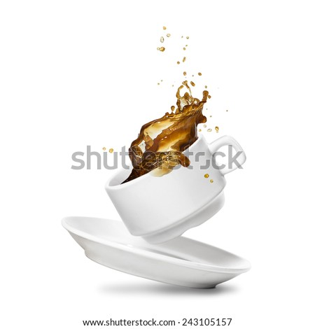 Coffee splash from a white cup. Isolated on white. - stock photo