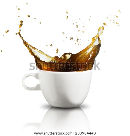 Coffee splash from coffee cup - stock photo
