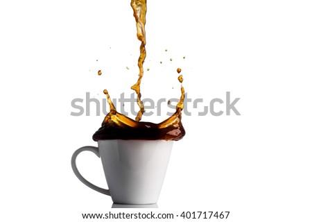coffee splash isolated on white background - stock photo