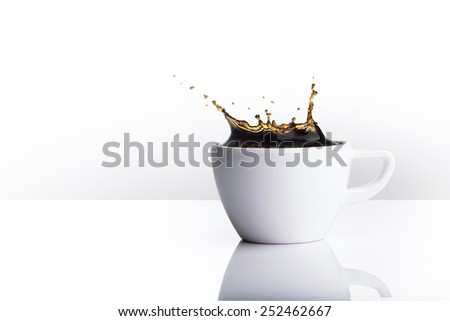 coffee splash isolated on white background, Include hand draw vector path for remove background - stock photo