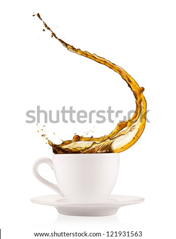 Coffee splashing out of cup, isolated on white background - stock photo