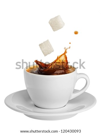 coffee splashing sugar - stock photo