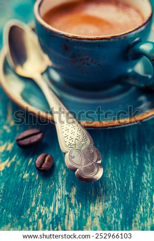 Coffee spoon, close-up. Shallow depth of field - stock photo