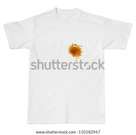 coffee stain on white t shirt - stock photo